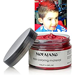 INST Hair Wax Temporary Hair Color Wax 4.23oz MOFAJANG Natural Matte Hairstyle Coloring Easy Operate Free Styles Hair for Men Women and Children,Dye Wax for Party,Masquerade,Nightclub,Cosplay(Red)
