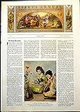Old Original Antique Victorian Print East West Musicians Flowers Cottage Scene Pinching Shoe 1910 001G368