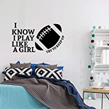 Football Wall Decal - Play Like A Girl - Vinyl Sticker for Girl's Bedroom Decor, Playroom or Game Room Decoration