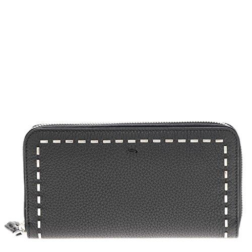 Fendi Unisex Zip- Around Wallet Black With metal Stitching Detail