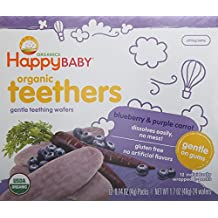 Happy Baby Gentle Teethers Organic Teething Wafers, Blueberry and Purple Carrot, 12 Count (Pack of 6)