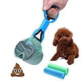 Cinoton Dog Pooper Scooper Waste Jaw-with 2 Roll Bags Pickup Jaw Easy Cleaning Tool Handle Grabber for Dog and Cat (Blue)