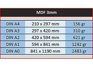 Elige Medidas: 120 x 60 cm CNC L/áser Tableros de DM de 3 mil/ímetros Dibujar para Maquetas Pintar Pack de 4