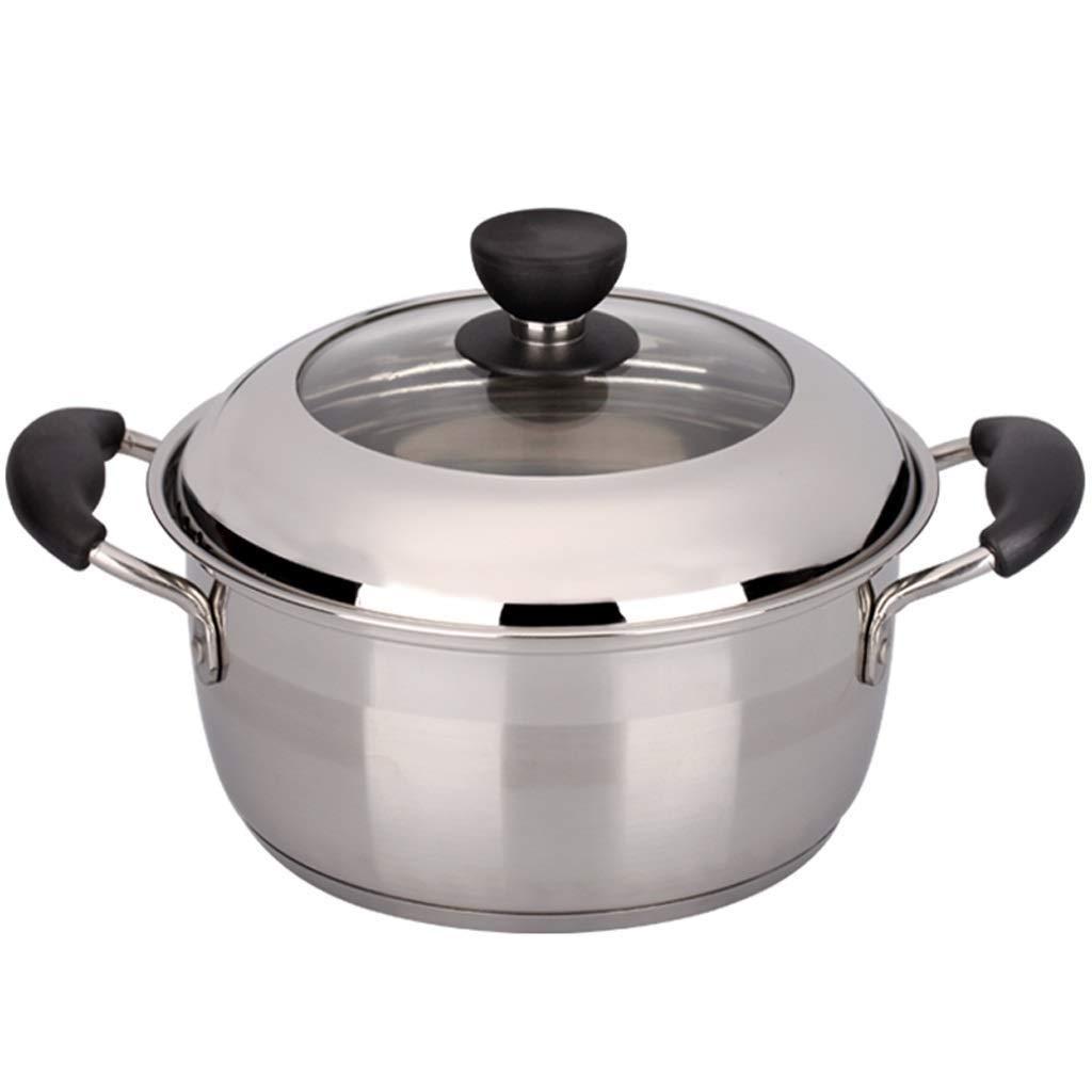 LIRIDP キッチンポット スープ鍋304ステンレス鋼22センチメートルスープ鍋フライパンガスストーブ炊飯器利用可能Stockpotバイノーラル厚く調理器具調理家の鍋朝食に最適   B07SPCGGRH