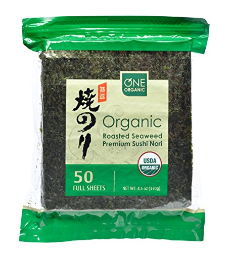 : ONE ORGANIC Sushi Nori Premium Roasted Organic Seaweed (50 Full Sheets)