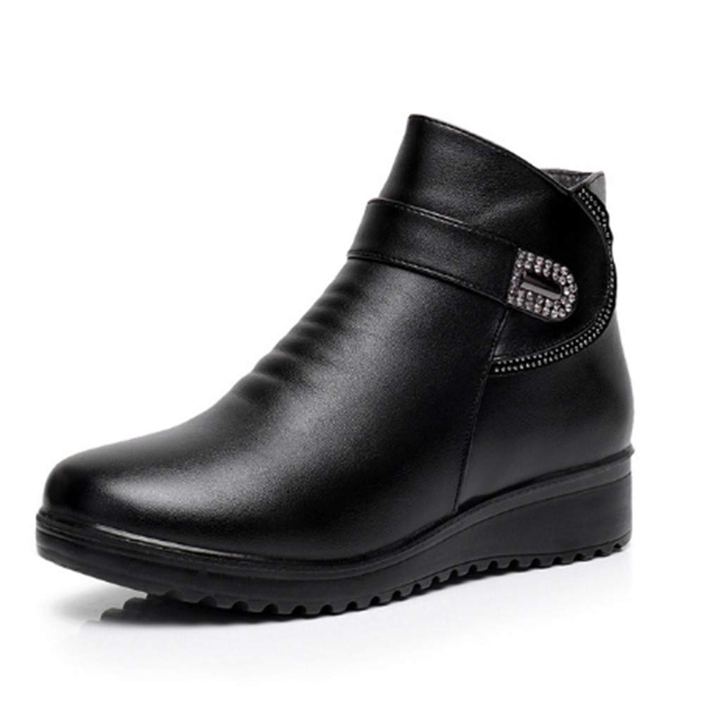 FMWLST Stiefel Frauen Kopf Stiefel Split PU Damen Stiefel Runde Kopf Frauen Schuhe Winter Schuhe 99863f