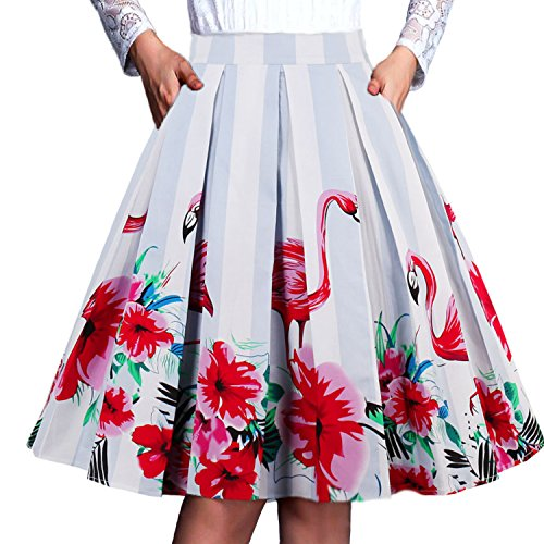 Floral Midi Skirt Pleated - T-Crossworld Women's Vintage Floral A Line Skirt Pockets Pleated Midi Skirt with Pockets Flamingo Small