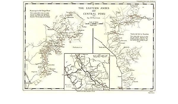 Huancayo Peru Map.Amazon Com Peru Eastern Andes 1945 Huancayo Satipo Tambo Del Sol