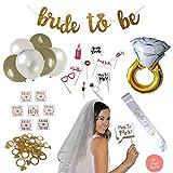 Bachelorette Party & Bridal Shower Decorations: Complete Kit! Set Incl. Ring Foil Balloon, Bride Tribe Flash Tats, Bachelorette PhotoBooth Props, Banner, Veil, Sash, Ring Confetti, Balloons + More