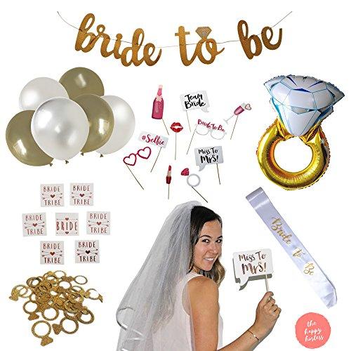 Bachelorette Veil (Bachelorette Party & Bridal Shower Decorations: Complete Kit! Set Incl. Ring Foil Balloon, Bride Tribe Flash Tats, Bachelorette PhotoBooth Props, Banner, Veil, Sash, Ring Confetti, Balloons + More)