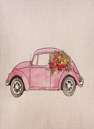 Dyrenson Home Decorative Love Valentine Day Small Garden Flag Pink Watercolor Car Double Sided Tropical Flower, House Beach Burlap Yard Decoration, Seasonal Outdoor Décor Flag 12.5 x 18 Spring Summer