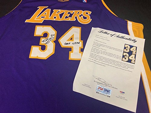 (Shaq Shaquille O'Neal Signed Game Used Los Angeles Lakers Basketball Jersey - PSA/DNA Certified - Autographed NBA Jerseys)