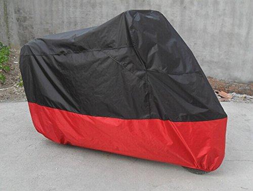 Universal Waterproof Dust Sun proof Indoor Outdoor Motorcycle Motorbike Cover for Harley Davison, Honda, Suzuki, Yamaha, Kawazaki Etc, Package Bag Include (XXL, Black/Red)