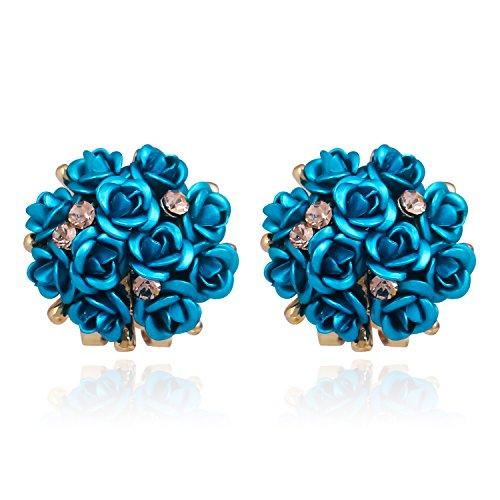Gorgeous Flower Cluster Bouquet Earrings Crystal Wedding Bridal Clip Pierced Stud Earrings Blue