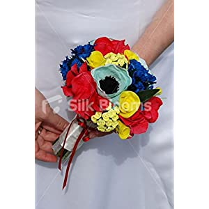 Blue Yellow & Red Bridesmaid Bouquet w/ Roses Anemones Hydrangea 30
