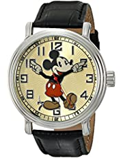 """Disney Men's 56109""""Vintage Mickey Mouse"""" Watch with Black Leather Band"""