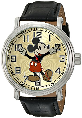 디즈니 빈티지 미키마우스 시계 EWatchFactory 디즈니 Disney Mens 56109 Vintage Mickey Mouse Watch with Black Leather Band