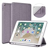 Soke New iPad 9.7 2018 2017 Case with Pencil Holder - Lightweight iPad Case Trifold Stand with Shockproof Soft TPU Back Cover and Auto Sleep Wake Function for iPad 9.7 inch 5th 6th Generation - Violet