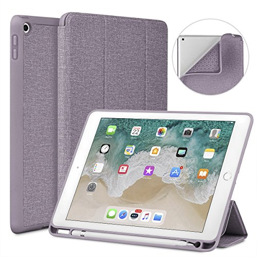 Soke New iPad 9.7 2018/2017 Case with Pencil Holder, Lightweight iPad Case Trifold Stand with Shockproof Soft TPU Back Cover and Auto Sleep/Wake Function for iPad 9.7 inch 5th/6th Generation, Violet