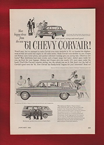 "1961 CHEVROLET CORVAIR 700 Sedan, LAKEWOOD 700 Station Wagon & GREENBRIER Sports Wagon "" More Happy Ideas..."" VINTAGE NON-COLOR AD - USA - NICE ORIGINAL !!"