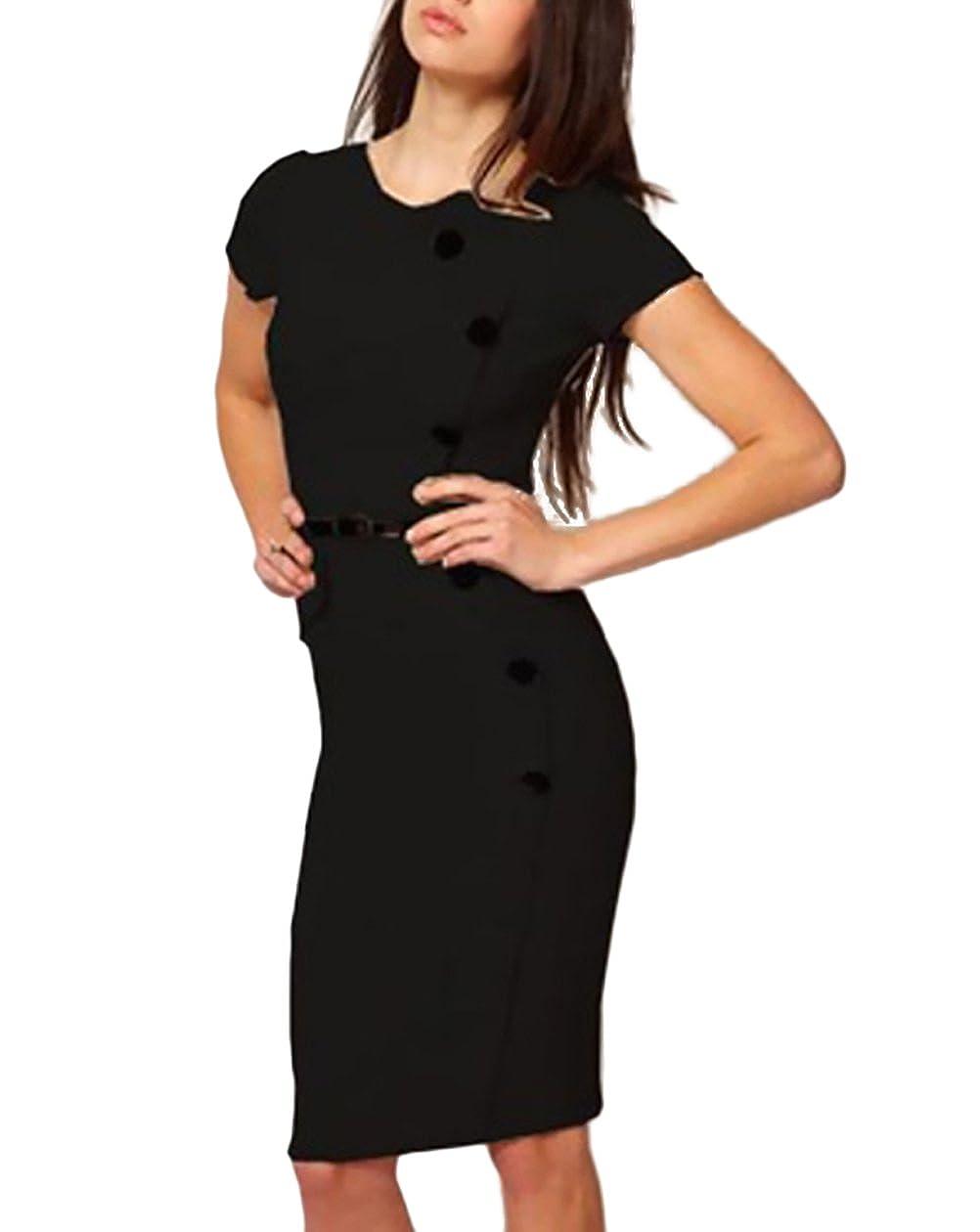 Kleider Damen Sommer Elegante Kurzarm Rundhals Midikleid Bleistiftkleid Unifarben Button Mädchen Kleidung Mode Slim Fit Partykleider