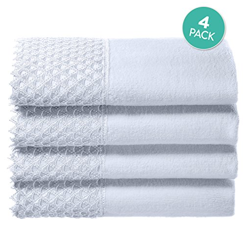 Lace Guest Towels - Creative Scents Cotton Velour Fingertip Towels, 4 Piece Set, 11 By 18-Inch, Decorative Towel Set with White Lace for Bathroom, Powder Room, Gift Packaged (White)