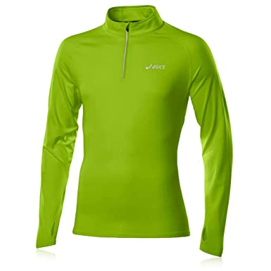 b3b169da50 Asics WINTER Half Zip Long Sleeve Running Top - Small Green: Amazon ...