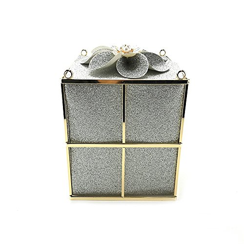 boîte sac Paquet Silver soirée créative diagonale mode discothèque Dames nuptiale robe épaule embrayage cadeau fleur 5qZXWWd6w7