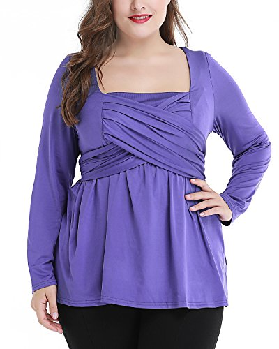 Daci Women's Plus Size Casual Scoop Neck Ruches Long Sleeve Charlotte Tie Top Blouse Purple 16W - Charlotte Tunic