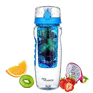 Ryaco Fruit Infuser Water Bottle 32oz BPA Free DIY Fruit Infuser Convenient 1-Click Opens Flip Top Lid Insulating Sleeves Flavored Water Recipe Ideal for Yoga Outdoors Cycling Camping and Travel
