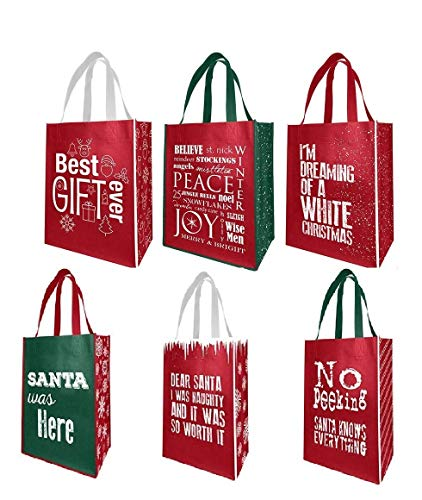 Earthwise Reusable Grocery Gift Bags Holiday Xmas Designs - Large & Medium Size - 6 Assorted Designs (Pack of 6) ()