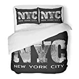 Emvency Bedding Duvet Cover Set Twin (1 Duvet Cover + 1 Pillowcase) Gray America On The of New York City Grunge Graphics Athletic Badge Black Boy Custom Hotel Quality Wrinkle and Stain Resistant