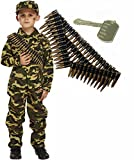 Army Boy Soldier Kids Fancy Dress Costume Outfit with Bullet Belt & Dog Tag (4-6 years)