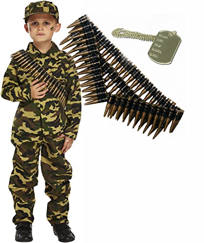 Army Boy Soldier Kids Fancy Dress Costume Outfit Bullet Belt & Dog Tag Age 7-9 ()