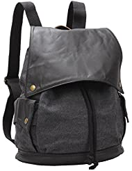 Unisex Canvas Backpack Vintage Rucksack School College Bookbags Grey Bk-001