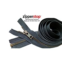 Zipperstop Wholesale YKK®- Jacket Zippers YKK® #5 Antique Brass- Metal Teeth Separating for Crafter's Special Color Dark Grey #S926 Made in USA -Custom Length (30 inches)