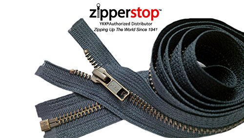 Zipperstop Wholesale YKK®- Jacket Zippers YKK® #5 Antique Brass- Metal Teeth Separating for Crafter's Special Color Dark Grey #S926 Made in USA -Custom Length (10 inches) (10' Zipper)