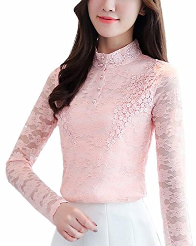 Tops Stand Flare Lace Womens Winter Sleeve 6 Warm Blouse Long TTYLLMAO Collar xHAnwq