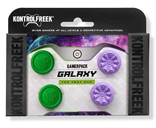 KontrolFreek GamerPack Galaxy for Xbox One Controller | Performance Thumbsticks | 1 High-Rise, 3 Mid-Rise | Purple/Green