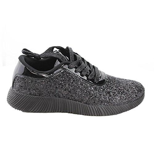 Voor Altijd Fp13 Damesschitterende Glitter Lace Up Fashion Street Sneakers Zwart
