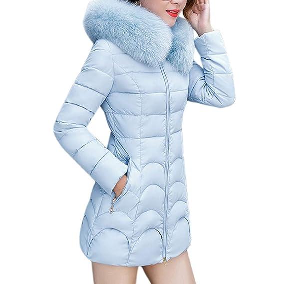 Linlink Las Mujeres con Capucha Outwear Abrigo de Piel Larga Gruesa Cuello de algodón Parka Slim Chaqueta: Amazon.es: Ropa y accesorios