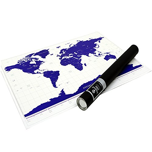 [Glow in The Dark] Scratch Off World Map - Scratchable Deluxe Blue Edition | XXL Sizes 41.3 x 29.9 inches | OWENUP | Scratch and Track the Countries and Cities Visited - Perfect Gift for Travelers