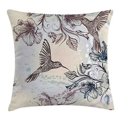 Ambesonne Hummingbird Throw Pillow Cushion Cover, Birds and Hibiscus Flowers Nostalgia Antique Design Classical Print, Decorative Square Accent Pillow Case, 18