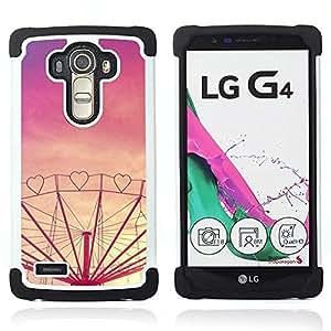 """LG G4 H815 H810 H811 LS991 LS986 US991 H815 U812 - 3 en 1 impreso colorido de Altas Prestaciones PC Funda chaqueta Negro cubierta gel silicona suave (Corazón púrpura del amor Sunset Feria de atracciones"""")"""