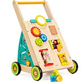 cossy Wooden Baby Walker Toddler Toys for 18 Month, Push and Pull Toy Learning Walking Toys