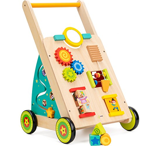 (cossy Wooden Baby Walker Toddler Toys for 18 Month, Push and Pull Toy Learning Walking Toys )