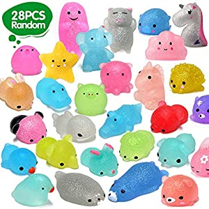 28pcs Mochi Squishy Toys 2nd Generation Glitter Mini Mochi Animal Squishies Toys Party Favors for Kids Kawaii Squishys Unicorn Panda Cat Stress Relief Toys Xmas Gifts, Random