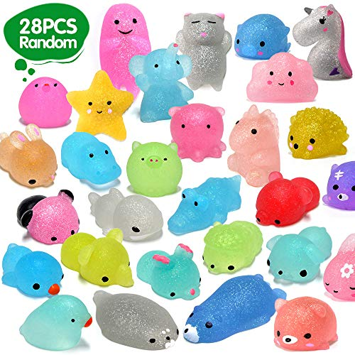 ORWINE Squishies 28pcs Mochi Squishys Toys 2nd Generation Party Favors for Kids Birthday Gifts for Girls Boys Glitter Mini Squishy Mochi Animal Squishies Unicorn Panda Cat Stress Relief Toys, Random