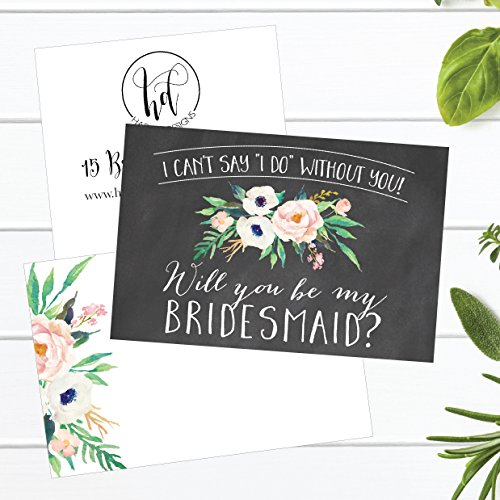 15 Will You Be My Bridesmaid Cards Chalkboard, I Can't Say I Do Without You, Rustic Proposal Note For Gifts, Blank Chalk Ask To Be Your Bridesmaids Invitations Set, Asking A Bridesmaid Invite Photo #5