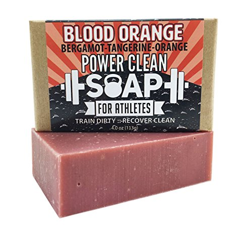 Organic Soap Bar for Athletes with Essential Oil of Blood Orange and Bergamot | Relaxing Aromatherapy for All Skin Types (Including Sensitive) | Non GMO, SLS & Chemical Free | 4 oz